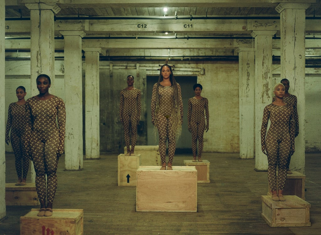 Beyoncé and her team wear Marine Serre crescent print catsuits.