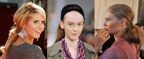 Catwalk Runway Beauty Hair Trend. Spring Summer 2009. Fat and Low Pony Tails Backstage at Marc Jacobs, Nicole Farhi and Etro