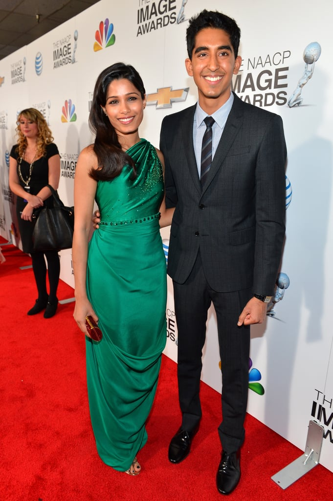 Freida Pinto and Dev Patel walked the carpet together.