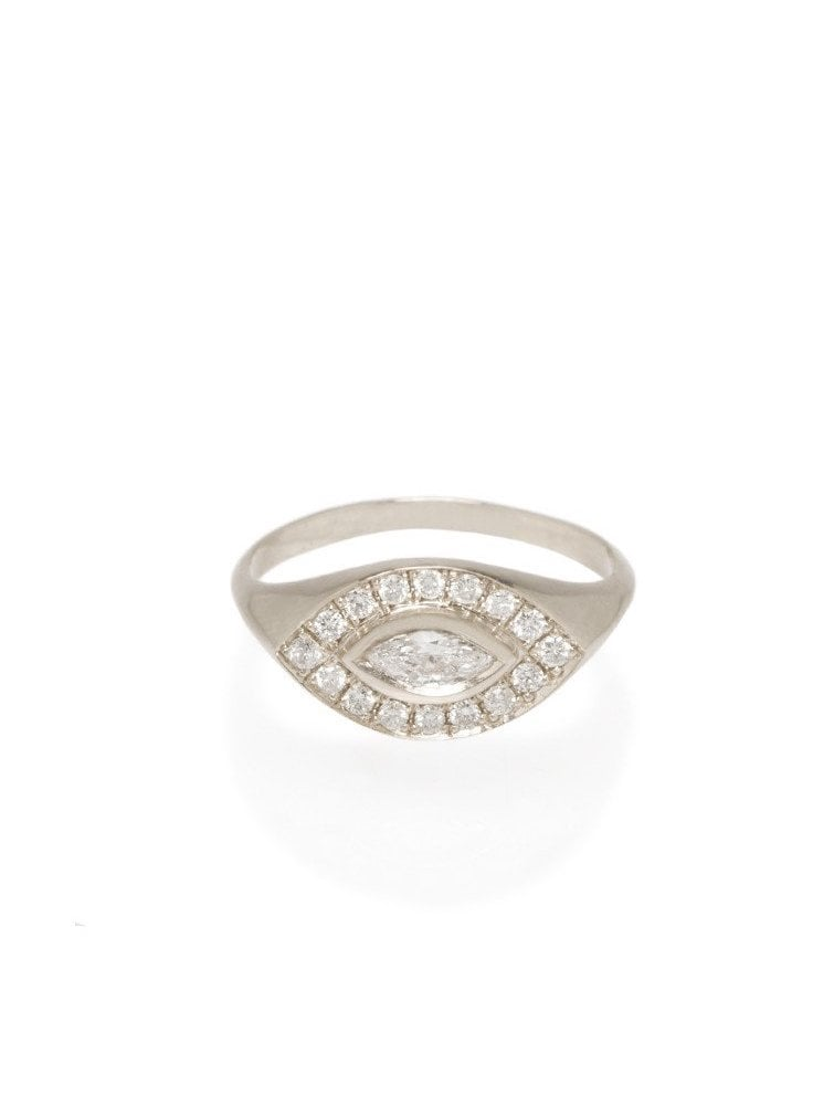 Zoe Chicco 14K Pave and Marquis Diamond Signet Ring