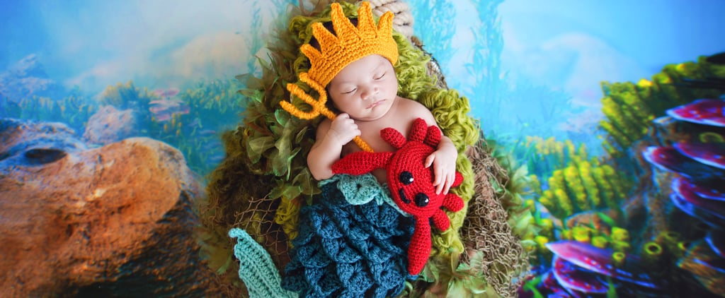 Newborn Photos in Crocheted Disney Outfits