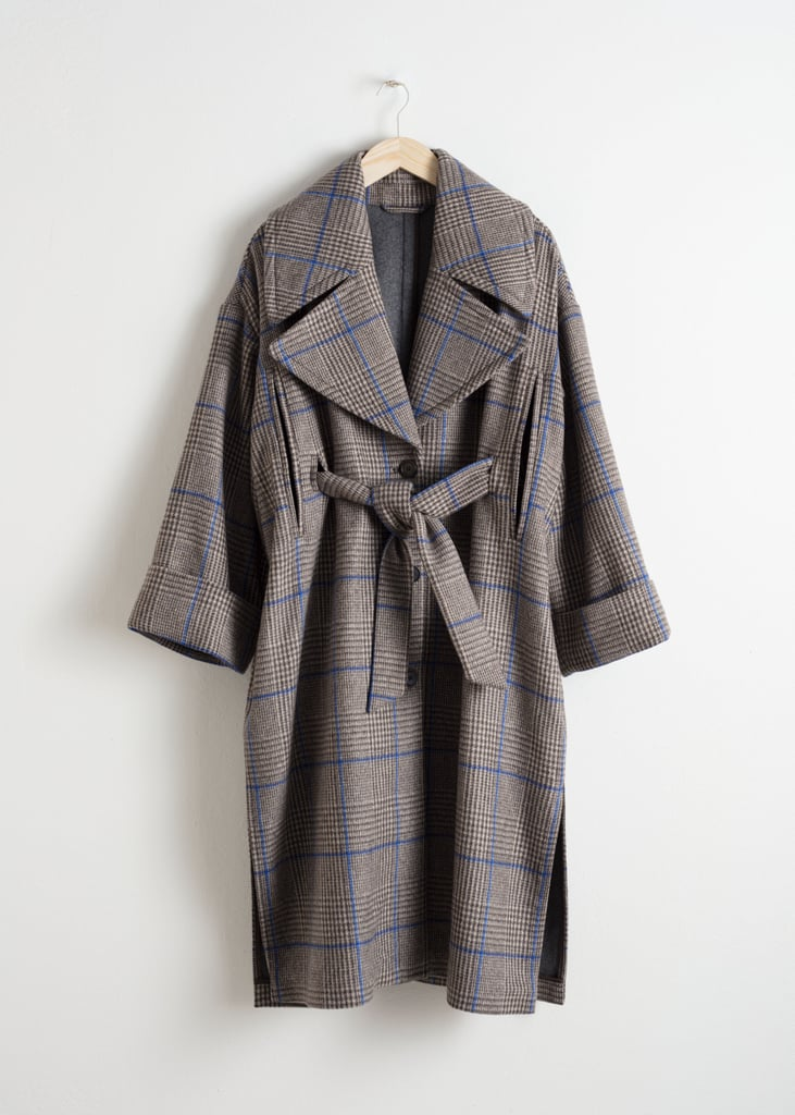 & Other Stories Belted Plaid Coat Cape