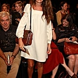 Coco Brandolini d'Adda kept it simple at Alberta Ferretti, with a sweet LWD and lace-up sandals.