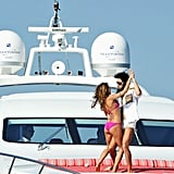 Sacha Baron Cohen and Elisabetta Canalis were spotted on a luxury yacht at the Cannes Film Festival.