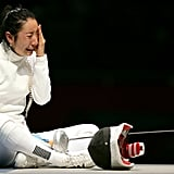 Fencer Shin A-Lam of Korea cried after losing to Britta Heidemann of Germany in the semifinals.