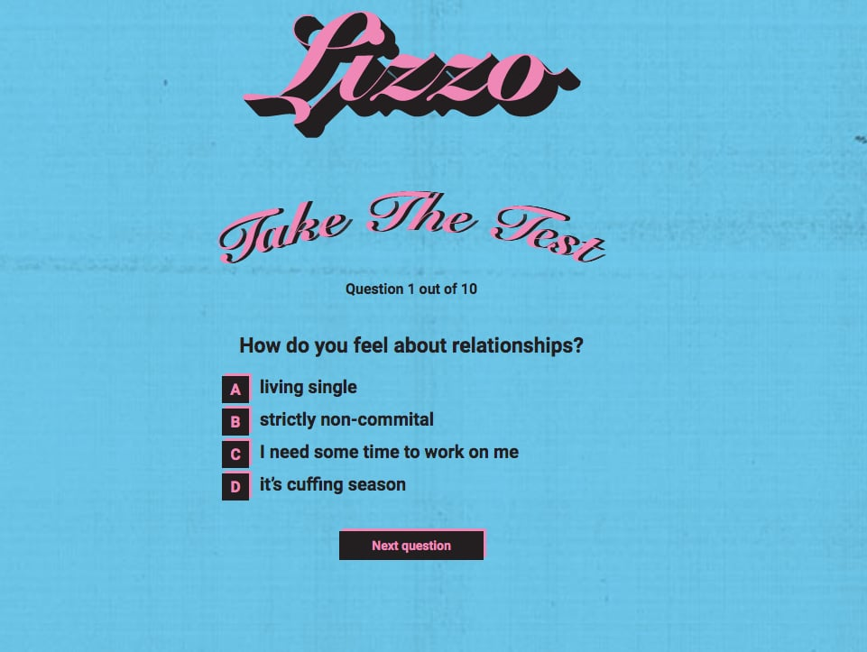 Answer Lizzo's Series of Multiple Choice Questions