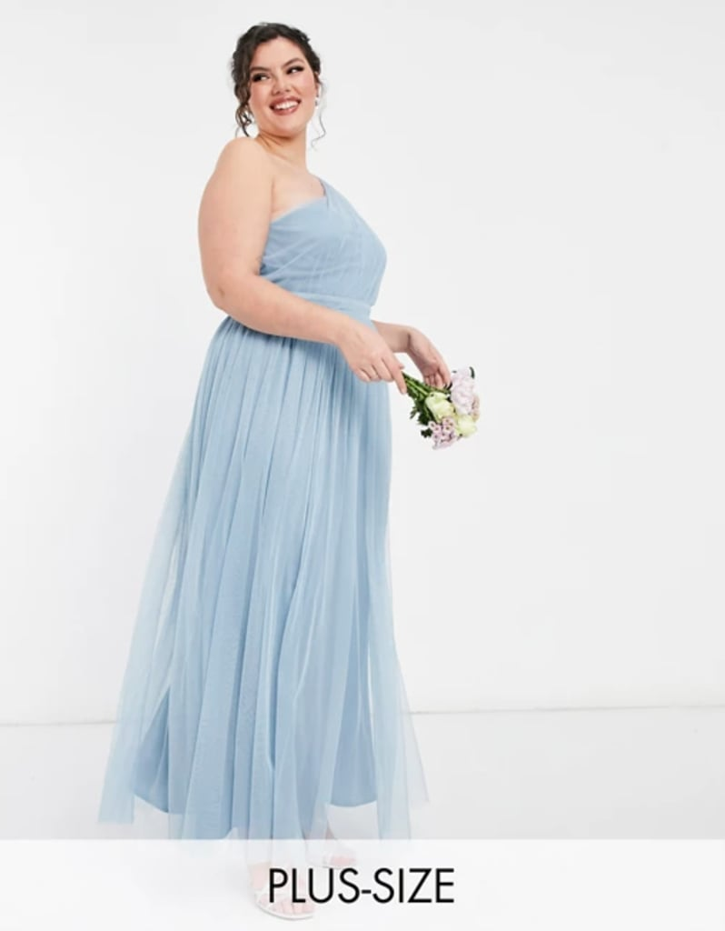 Blue Bridesmaid Dress: Anaya With Love Plus Bridesmaid Tulle One-Shoulder Maxi Dress in Soft Blue