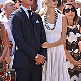 Beatrice held onto Pierre during the First Day of the 10th Anniversary of the Throne Celebrations in July 2015 in Monaco.