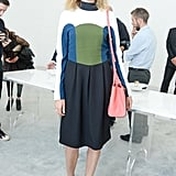 Natalia Vodianova arrived for the Delfina Delettrez presentation in a colorblock dress.