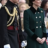 Kate Wore a Bespoke Dark Green Coat Designed by Catherine Walker