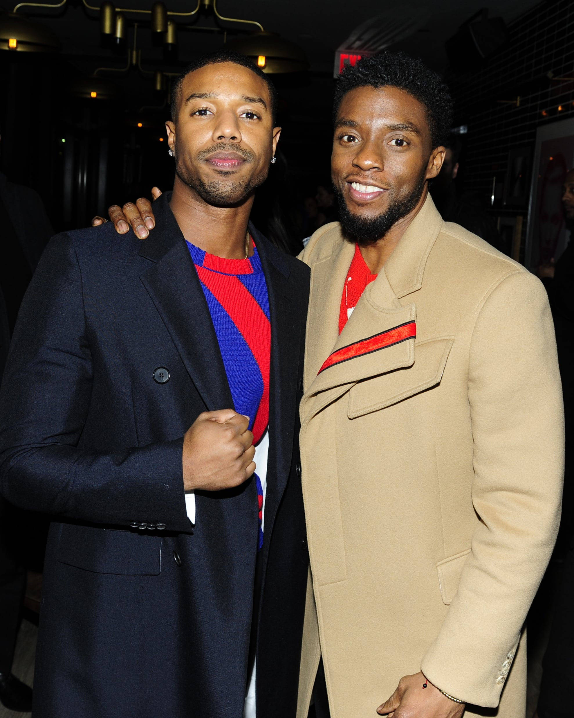 NEW YORK, NY - FEBRUARY 13: Chadwick Boseman and Michael B. Jordan attend The Cinema Society with Ravage Wines & Synchrony host the after party for Marvel Studios'