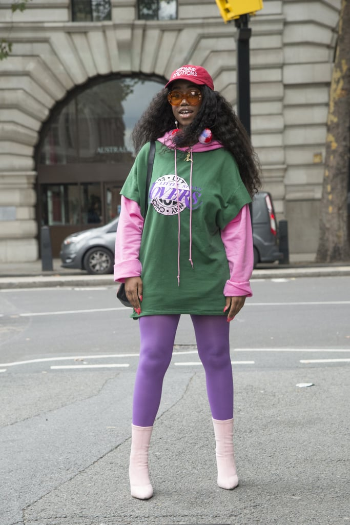 Trade in your black leggings for purple ones to give your outfit that pop of colour.