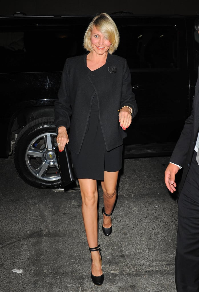 """Cameron Diaz flashed a bright smile stepping out of her car in NYC on Friday headed to a private engagement party for her close friend, Drew Barrymore. Drew and fiancé, Will Kopelman, are reportedly closer to tying the knot with reports suggesting they're planning a June wedding. Cameron and Drew recently spent some time together earlier this month when they caught a Coldplay concert together in LA.  Cameron's expected back in LA tonight for the West Coast premiere of her romantic comedy, What to Expect When You're Expecting. We recently sat down with Cameron and her onscreen love interest, Matthew Morrison, at the junket where she admitted she's """"terrified"""" of being on Glee. We'll be at tonight's premiere so stay tuned for more updates from Cameron and the rest of the cast on tomorrow's PopSugar Rush."""
