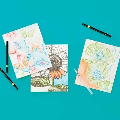 Mondo Llama 24pg Watercolor Coloring Book Set Floral and Fauna