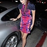 Drew wore a nude gown during the show and changed into a bright mini dress for the parties.