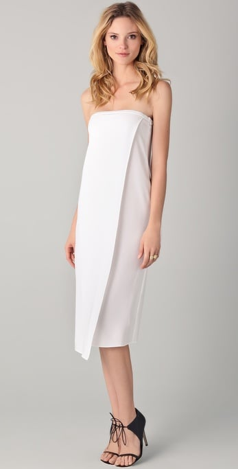 Simple and streamlined — and begging to be dressed up with your prettiest jewels and heels.  Tibi Strapless Dress ($420)