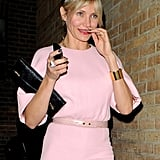 Cameron Diaz wore a pink jumpsuit for the Obama Victory Fund dinner held at Mark's Club in London.
