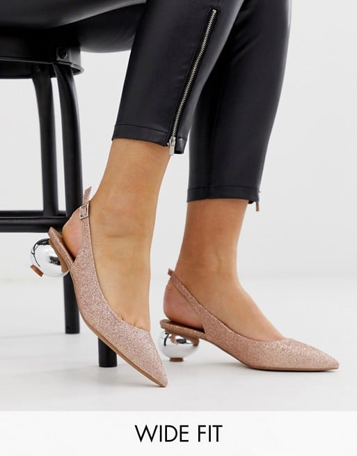 ASOS DESIGN Wide Fit Sphere slingback ball heels in rose gold glitter