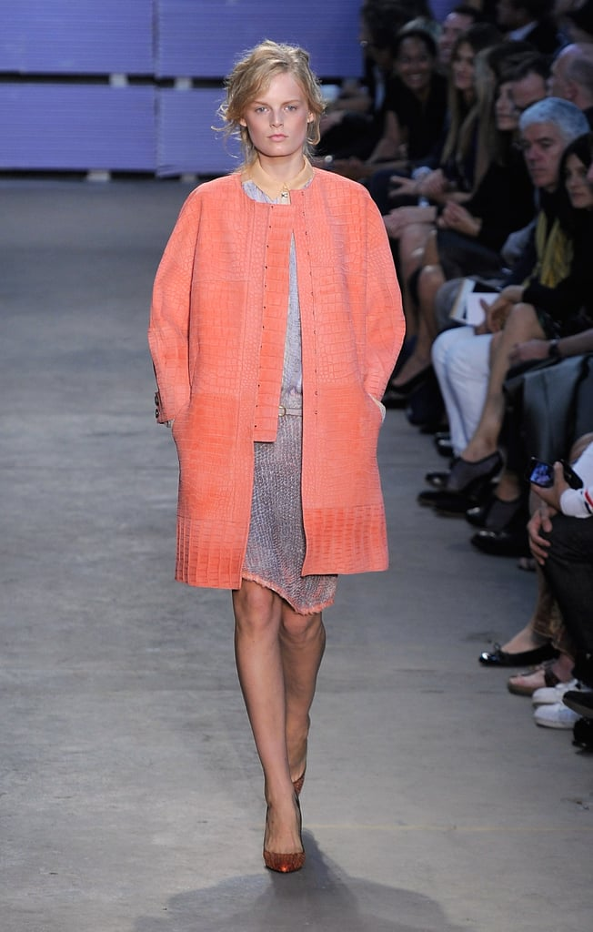 This croc-print cocoon jacket is in the perfect coral Spring hue.