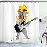 Hipster Musician Kitty Playing Guitar Shower Curtain