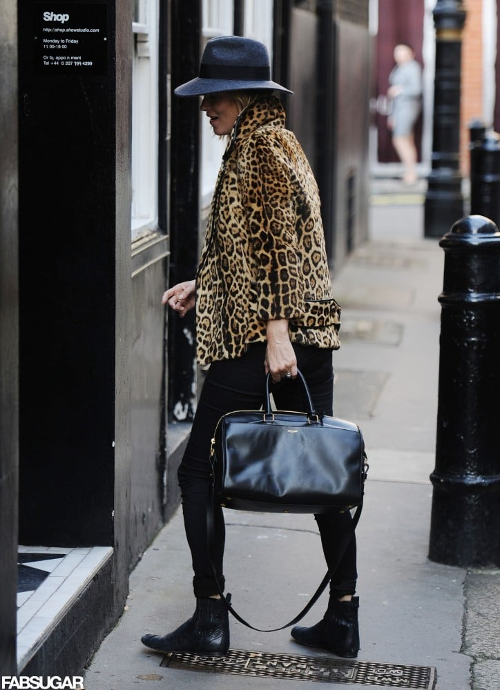 Her patent leather tote adds an extra pop.