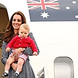 Prince George at Fairbairne Airbase in Canberra, Australia, in April 2014