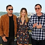 Leonardo DiCaprio, Margot Robbie, and Quentin Tarantino at the Once Upon a Time in Hollywood photocall in Rome.