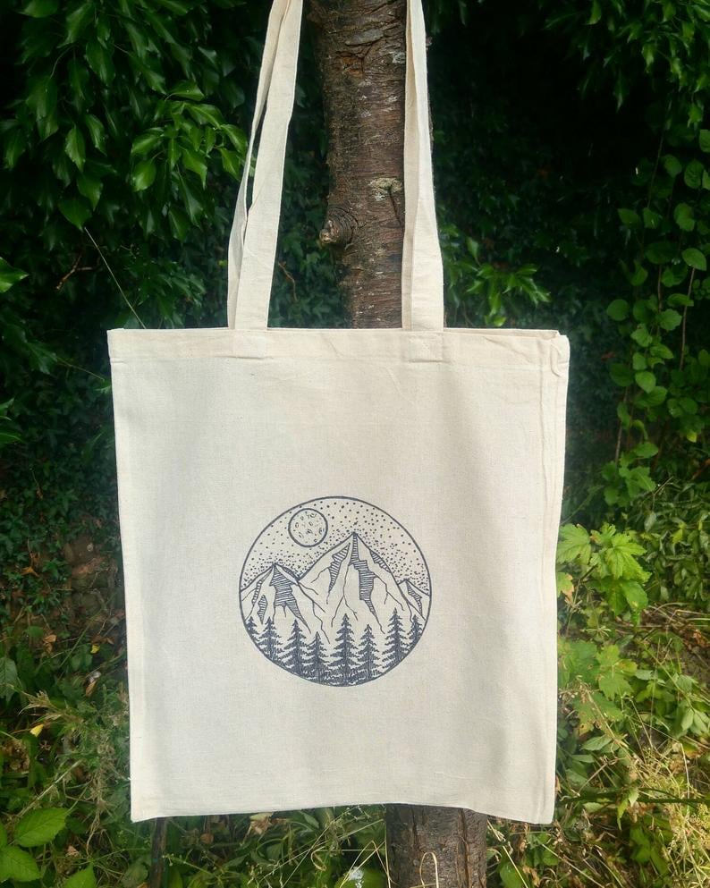 Hand-Illustrated Mountain Eco-Friendly Tote Bag
