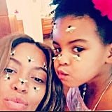 Beyoncé and Blue Ivy Carter posed for an adorable selfie with bee stickers on their faces.
