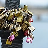 Love locks were attached to Pont des Arts in Paris.