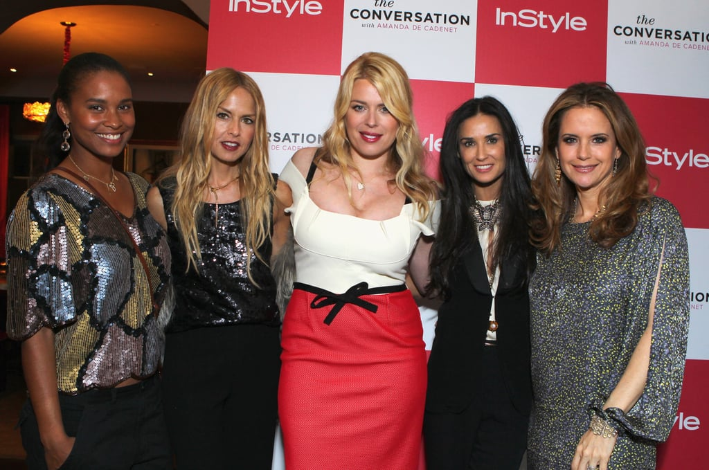 Rachel Zoe and Demi Moore helped their pal Amanda de Cadenet kick off her new TV show in LA last night. The ladies teamed up with InStyle and the magazine's editor Ariel Foxman to toast the program, called The Conversation With Amanda de Cadenet at a private home in Beverly Hills. The event was Demi Moore's first public outing since leaving a rehab program she entered in January. Demi also announced yesterday that she's ready for another big change: changing her twitter handle from @MrsKutcher. Demi tweeted that she is taking suggestions, but has yet to pick her new moniker.  Demi posed for photos alongside Rachel, as well as other actresses like Joy Bryant, Kelly Preston, and Jordana Brewster. Amanda, a British TV personality married to musician Nick Valensi of The Strokes, is the host of the show, which features interviews with stars like Gwyneth Paltrow, Lady Gaga, and Jane Fonda about issues important to women. The Conversation debuts April 26 at 11 p.m. on Lifetime.