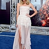 Brooklyn Decker showed some leg at the premiere of Battleship in LA.