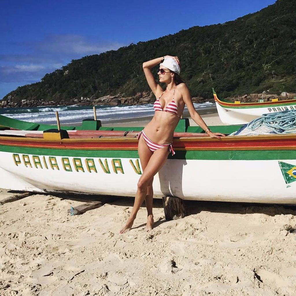 Alessandra Ambrosio Red and White Bikini June 2017