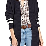 Treasure & Bond Stripe-Detail Open-Front Cotton & Wool Blend Cardigan