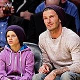 David and Romeo Beckham Take in the Lakers With John Krasinski