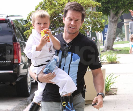 Slide Picture of Mark and Michael Wahlberg Leaving Karate Class in LA