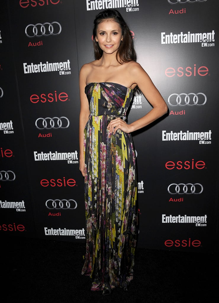 Nina channeled a Summer vibe in a watercolor-printed Matthew Williamson strapless maxi and breezy beach waves for Entertainment Weekly's SAG Awards pre-party in January 2013.
