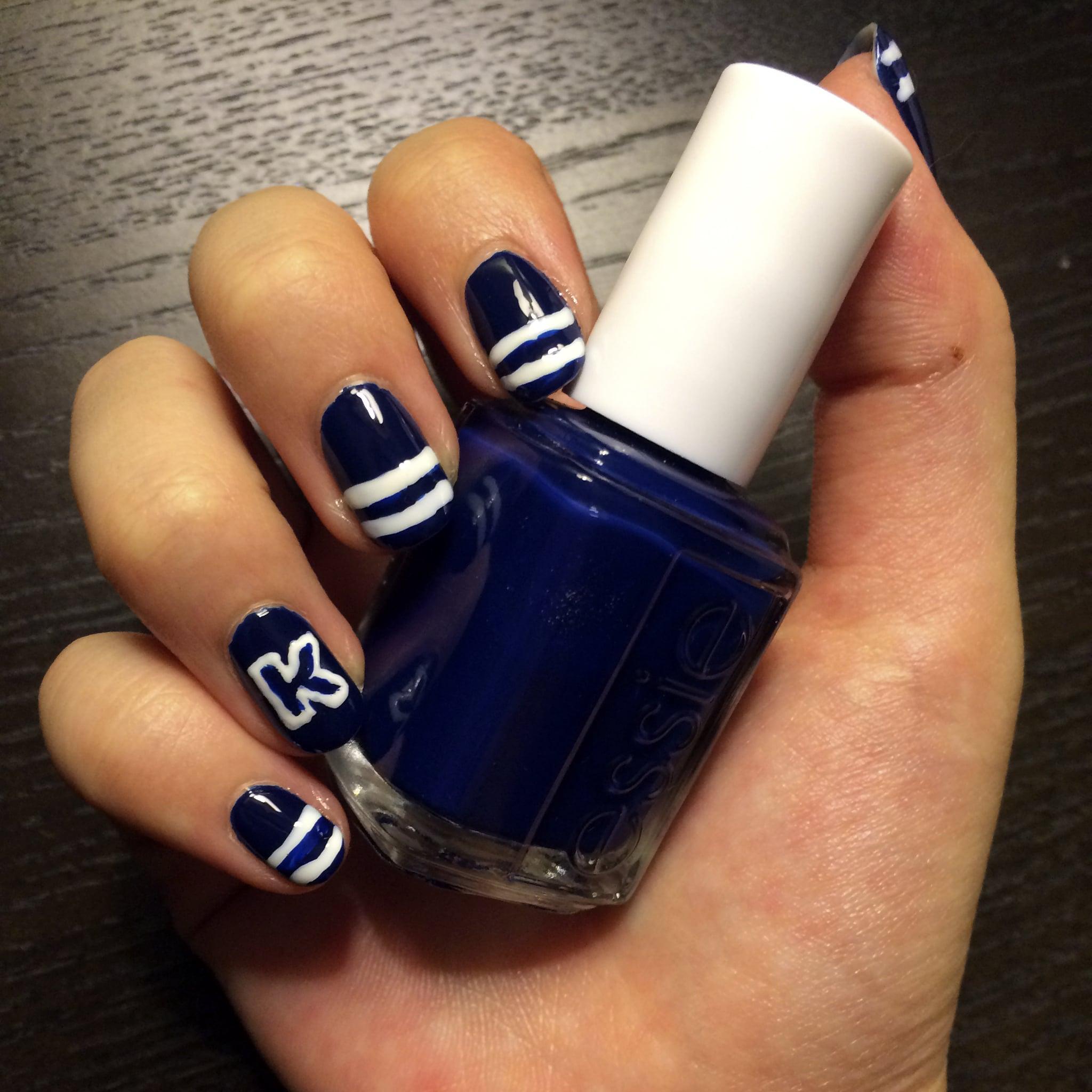 Varsity-Letter Nail-Art Design | POPSUGAR Beauty