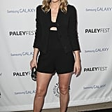 Leslie Bibb went black up top in a cutout Honor romper and blazer, then white on bottom in a pair of pointy Jean- Michel Cazabat pumps at the PaleyFest Icon Award event in Beverly Hills.