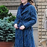 Leighton Meester in a blue coat on the set of Gossip Girl in NYC.