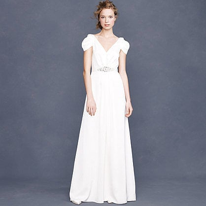 The cap sleeves on this J.Crew cap-sleeve gown ($875) are undeniably romantic. We love the jeweled belt, too.