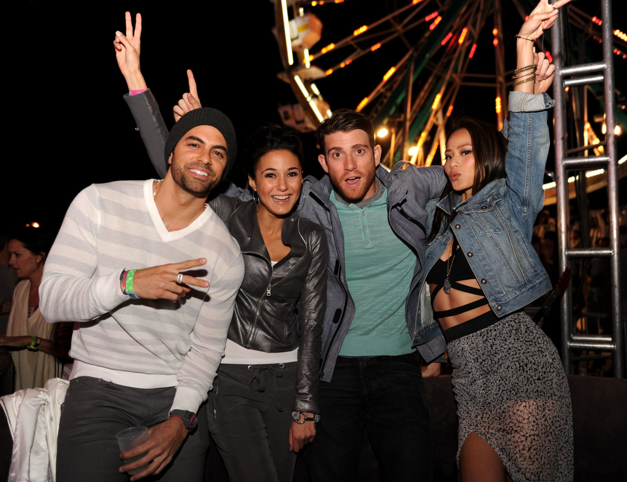 Bryan Greenberg and Emmanuelle Chriqui took a photo with friends.
