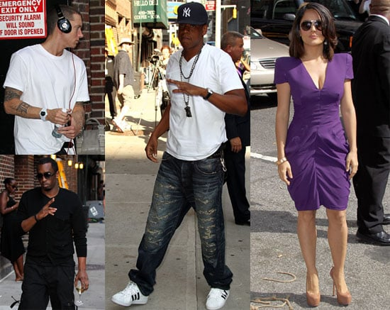 Pictures of Salma Hayek, Jay-Z, Diddy and Eminem on The Late Show With David Letterman 2010-06-22 18:30:56