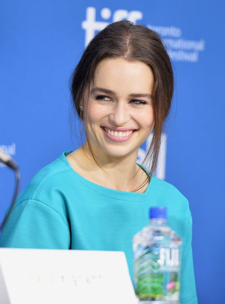 Emilia Clarke was all smiles at the Dom Hemingway press conference.
