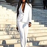 Naomi Campbell Made a Crisp White Suit Look Fierce