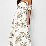 Boohoo Satin Floral Off the Shoulder Maxi Dress