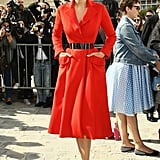 Leelee Sobieski in Red Dior Haute Couture Coat Dress