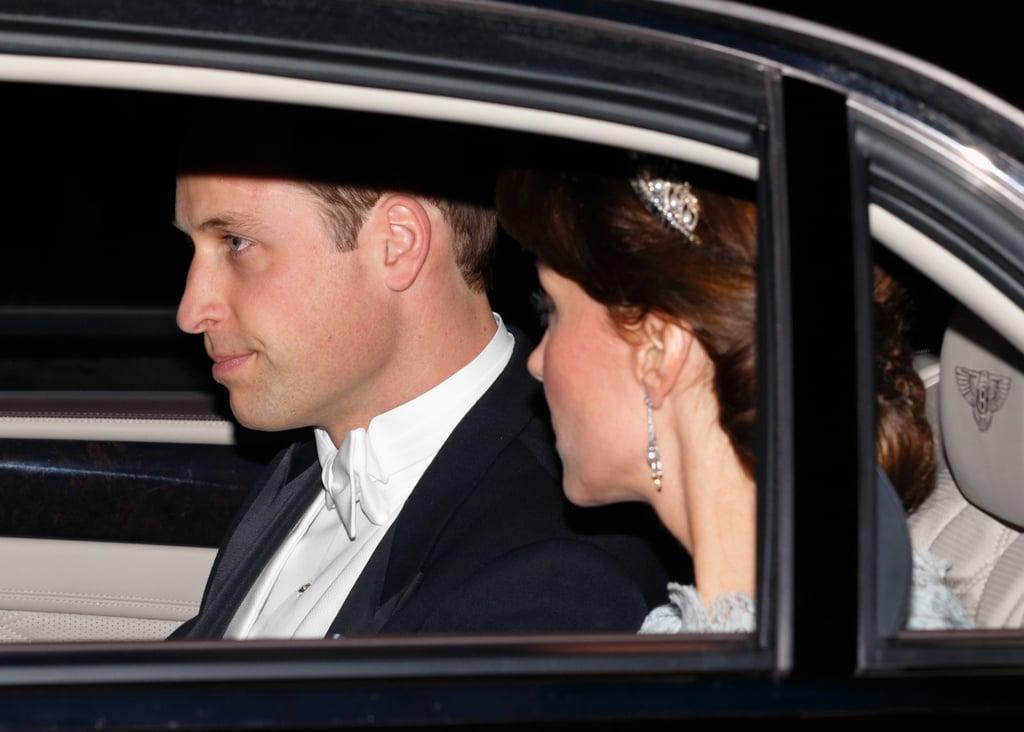 Kate Middleton Wearing a Blue Lace Dress and Tiara