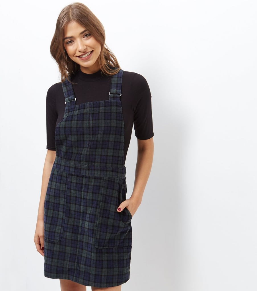 21960dae05e New Look Blue Cord Check Pinafore Dress