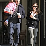 "Ben and Jen stepped out with Seraphina to grab some Starbucks in LA's Brentwood neighborhood. The family dropped by the coffee spot after their middle daughter debuted a new bob hairdo during an outing with her dad on Wednesday. Jennifer had a big smile on her face during the morning run, and she recently revealed the reason behind her perma-grin in an interview with the Huffington Post. She said, ""Well, I come from West Virginia where everyone waves and smiles when they see each other. It was how I was raised, it's what I do. I think it's such a great way to connect with people."""